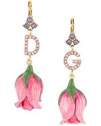 Dolce & Gabbana Crystal Embellished Flower Drop Earrings - Pink