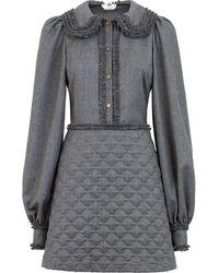 Fendi Платье-рубашка С Оборками - Серый