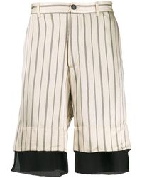 Ann Demeulemeester Striped Double-layer Satin Shorts - Natural