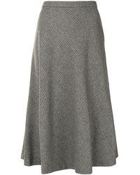 Nili Lotan Houndstooth Check Midi Skirt - Grey