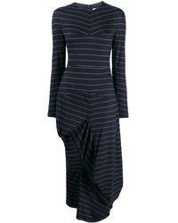 Chalayan Striped Asymmetric Sweater Dress - Blue
