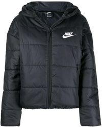 Nike Padded Coat With Logo Print - Black