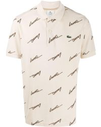 Lacoste L!ive Logo-print Piqué Polo Shirt - ナチュラル