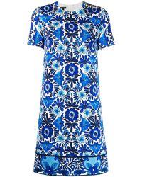 ESCADA フローラルジャカード ドレス - ブルー
