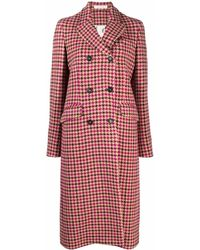 Massimo Alba Houndstooth Double-breasted Coat - Red
