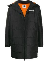 Les Hommes Zip-front Hooded Coat - Black