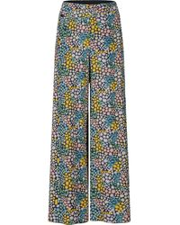 PORTSPURE Floral Print Palazzo Trousers - Blue