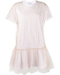 RED Valentino Tulle Panel T-shirt Dress - White