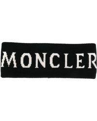 Moncler Black Hairband With Logo Intarsia