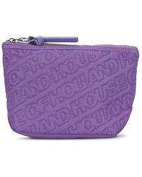 House of Holland Embroidered Logo Wash Bag - Purple