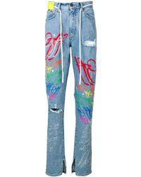 Off-White c/o Virgil Abloh Gescheurde Jeans - Blauw