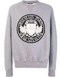 Balmain Logo Patch Sweatshirt - Серый