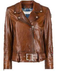 Golden Goose Deluxe Brand Декорированная Байкерская Куртка - Коричневый