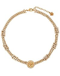 Versace - Crystal Embellished Medusa Chain Necklace - Lyst