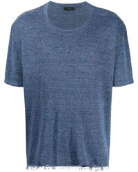 Alanui Fringed Hem T-shirt - Blue