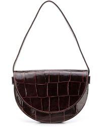 STAUD Amal Croc-effect Shoulder Bag - Brown
