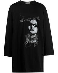 Yohji Yamamoto Pull à imprimé graphique - Noir
