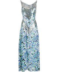 Paco Rabanne Embellished Floral Dress - Blue