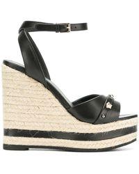 Versace Wedge-Sandalen mit Medusa-Nieten - Schwarz