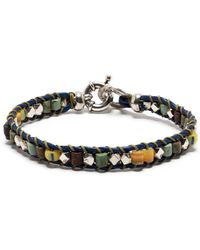 Gas Bijoux Bracelet en cuir à design tressé - Bleu