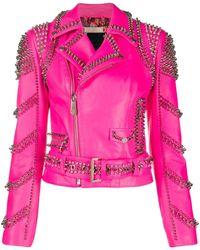 Philipp Plein Leather Biker Jacket - Pink