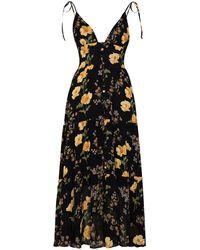 Reformation Midi-jurk Met Bloemenprint - Zwart