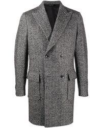 Tonello Двубортное Пальто С Узором В Елочку - Серый