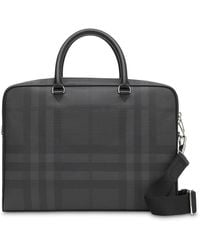 Burberry Maletín con London Check - Gris