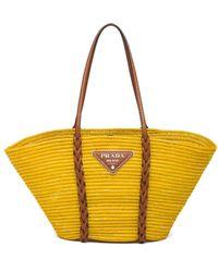 Prada Handtasche aus Stroh - Gelb