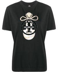 Tory Burch スパンコール ロゴ Tシャツ - ブラック