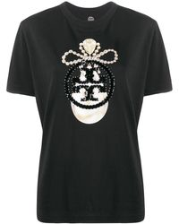 Tory Burch Sequin-jewel Logo T-shirt - Black