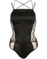 Kiki de Montparnasse Stripe Lurex Bodysuit - Черный