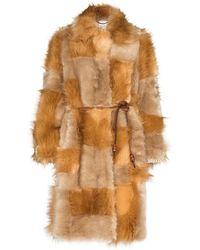 Stella McCartney Patchwork Design Faux-fur Coat - Brown