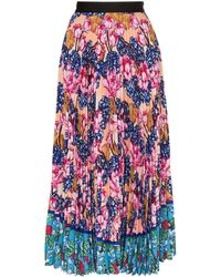 Mary Katrantzou Floral Print Pleated Midi Skirt - Pink