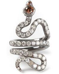 Loree Rodkin Gold And Diamond Pav� Coiled Snake Pinky Ring - Zwart