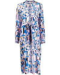 Emilio Pucci Платье-рубашка С Абстрактным Принтом - Синий