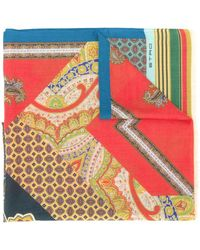 Etro Mixed print scarf - Bleu
