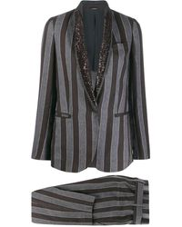 Brunello Cucinelli Striped Trouser Suit - Black
