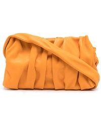 Elleme Vague Ruched Leather Clutch Bag - Orange