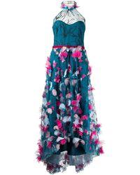 Marchesa notte Платье С Цветочной Аппликацией - Синий