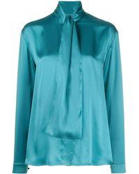 Balenciaga Блузка С Драпировкой - Синий