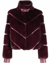Patrizia Pepe Faux-fur Panelled Jacket - Pink