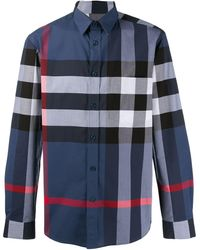 Burberry Geruit Overhemd - Blauw
