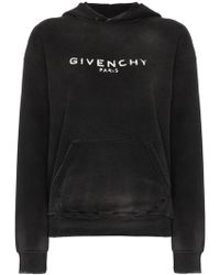 Givenchy - Logo Printed Distressed Hoodie - Lyst