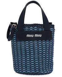 Miu Miu Geweven Bucket-tas - Blauw