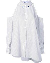 SJYP Striped Cold-shoulder Shirt - White