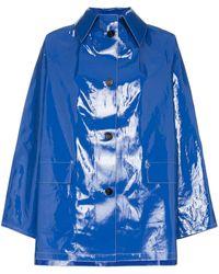 Kassl Patent Button Down Raincoat - Blue