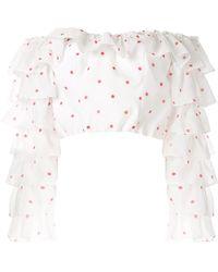 Bambah Укороченная Блузка В Горох С Оборками - Многоцветный