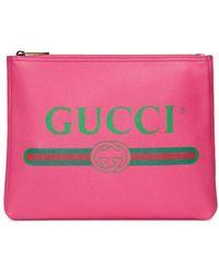 Gucci Клатч С Принтом Логотипа - Розовый