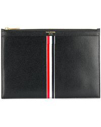 Thom Browne - Vertical Intarsia Stripe Small Leather Tablet Holder - Lyst
